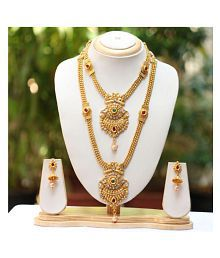 e8f1282ded8 Quick View. Swarajshop Alloy Golden Long Haram Traditional 14 kt Gold  Plated Necklaces Set