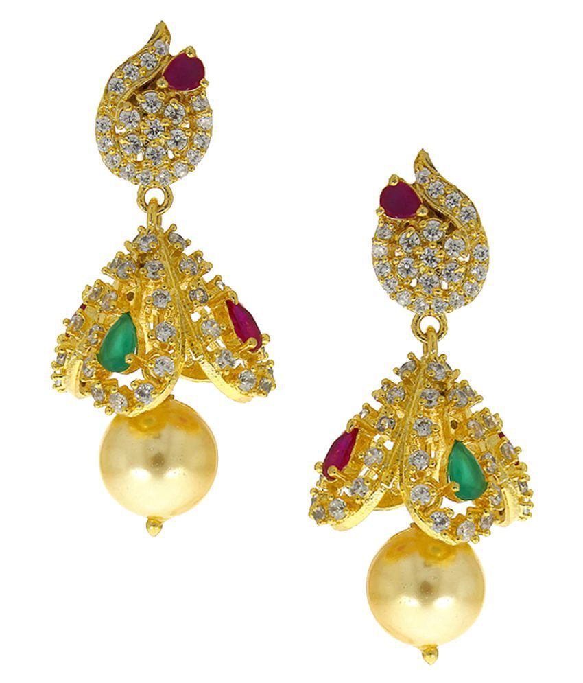 Anuradha Art Golden Colour Styled With Studded American Diamonds Stone Traditional Jhumka/Jhumki Earrings For Women/Girls