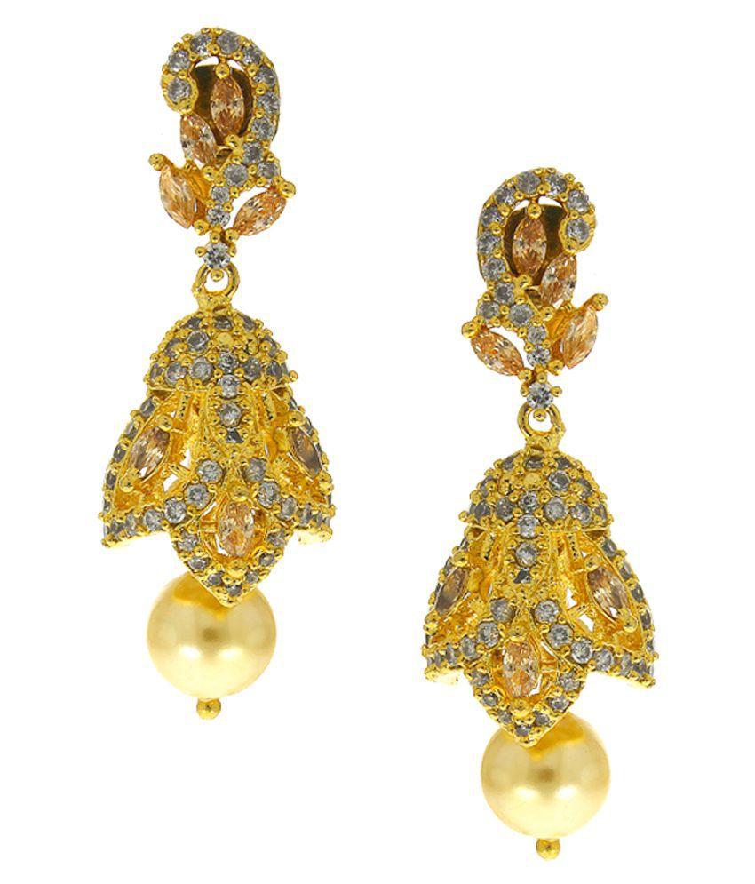 Anuradha Art Peach Colour Very Classy & Stylish Adorable Traditional Jhumka/Jhumki Earrings For Women/Girls