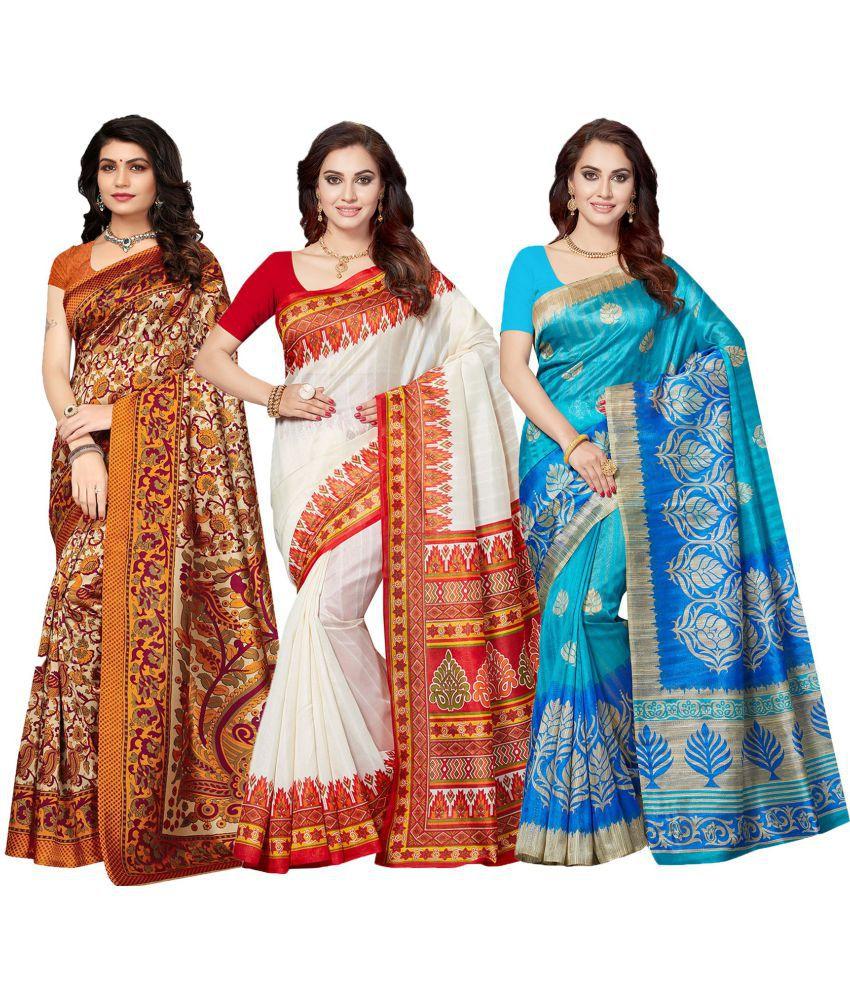 Ishin Multicoloured Art Silk Saree Combos