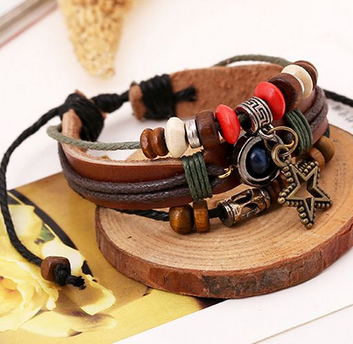 Multi-layer Leather Bracelet Lucky Women and Men Alloy Accessories Casual Personality Vintage Punk Bracelet Birthday Valentines Day Gift