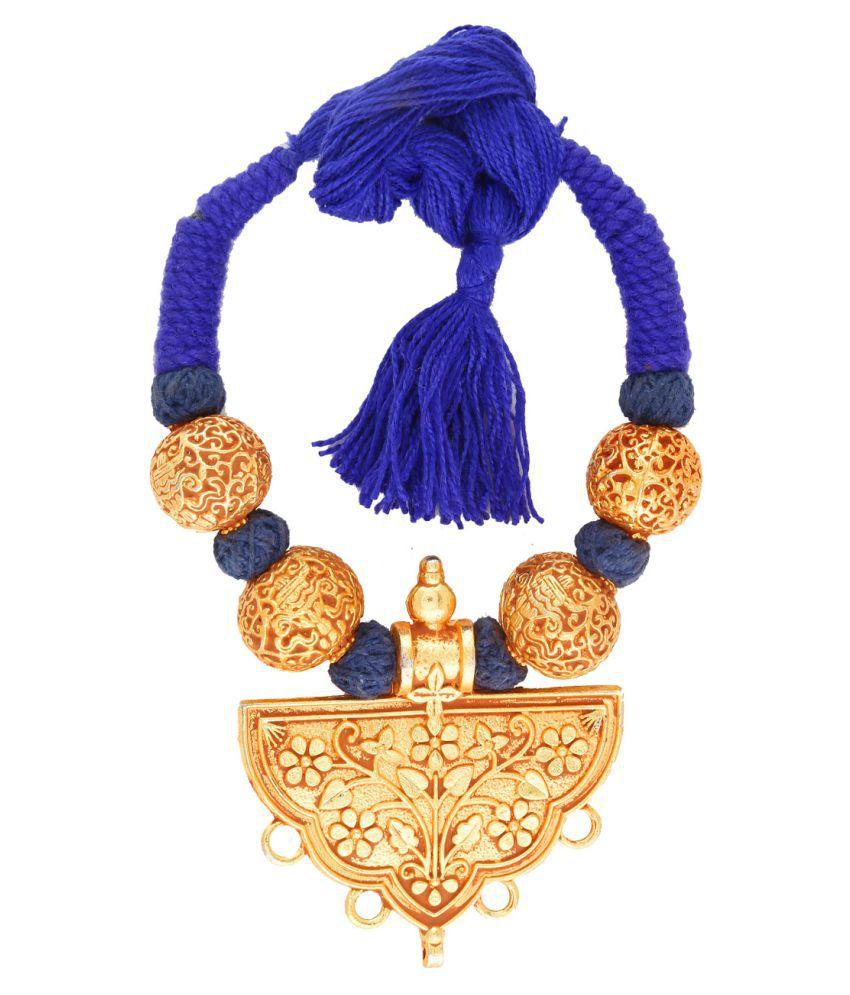 Anuradha Art Blue Colour Classy Royal Looking Geru Polishe Neckalce For Women/Girls