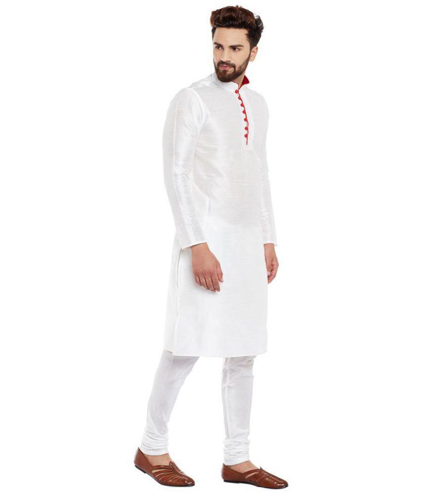 c220a5795b Larwa White Silk Kurta Pyjama Set Pack of 1 - Buy Larwa White Silk ...