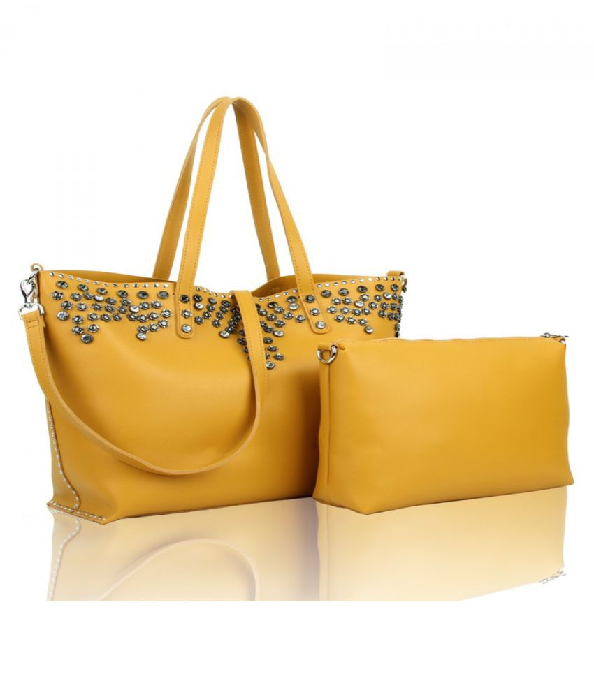 Missiit Yellow Faux Leather Handbags Accessories