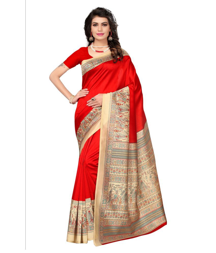 Blissta Red Mysore Silk Saree
