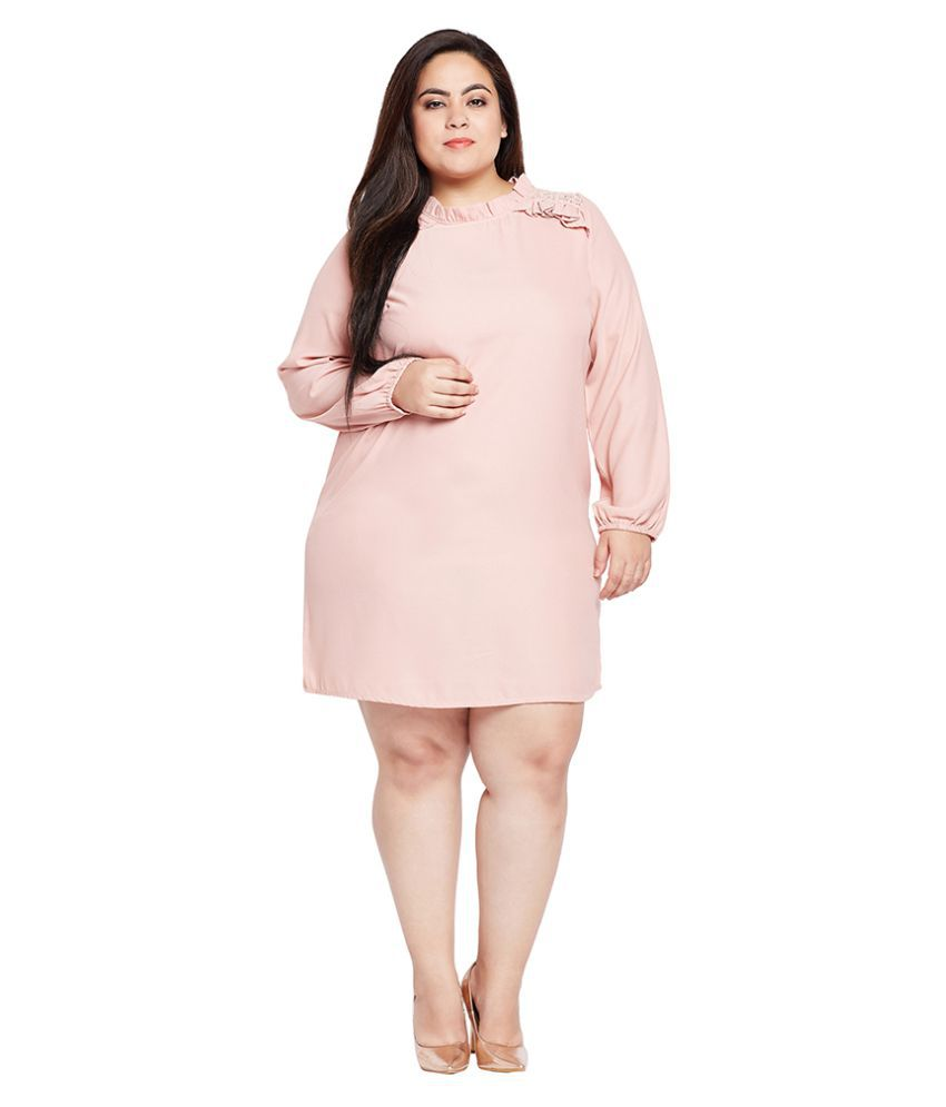 adf2624976f Oxolloxo Polyester Plus Size Pink Dresses Oxolloxo Polyester Plus Size Pink  Dresses ...