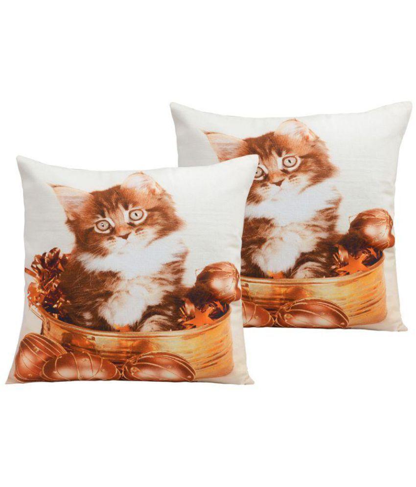 Lata Home Decor Set of 2 Cotton Cushion Covers 40X40 cm (16X16)