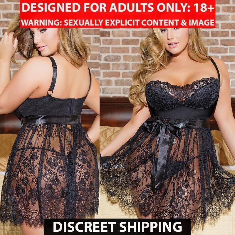 f645594af Comeondear Black Sexy Lingerie Babydoll Sleepwear Underwear Lace Dress  G-string Nightwear Plus Size R80456 (Black
