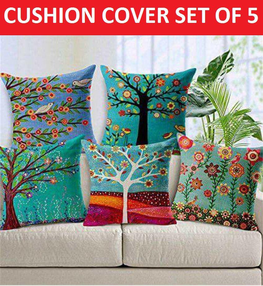 Prince Set of 5 Jute Cushion Covers 40X40 cm (16X16)