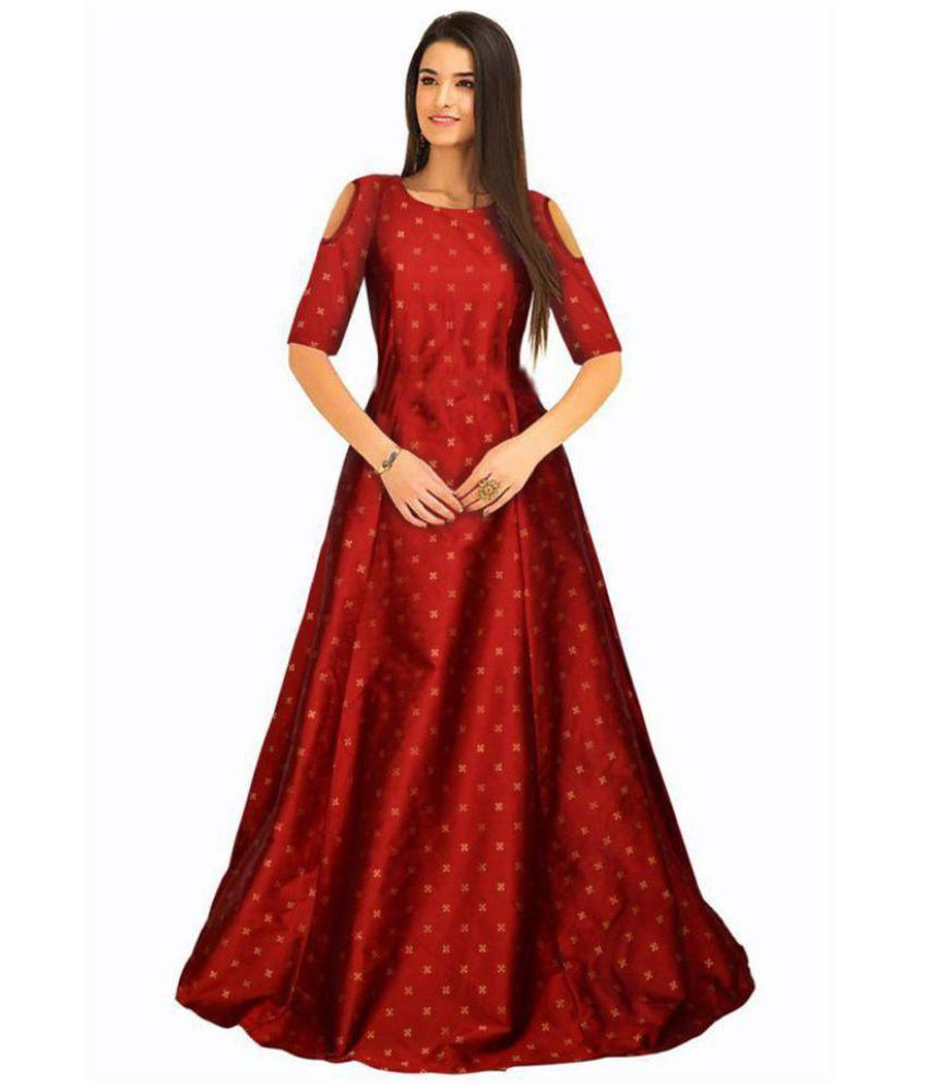 246fd12fc7d Vrundavan Fashion Silk Red Gown - Buy Vrundavan Fashion Silk Red Gown Online  at Best Prices in India on Snapdeal