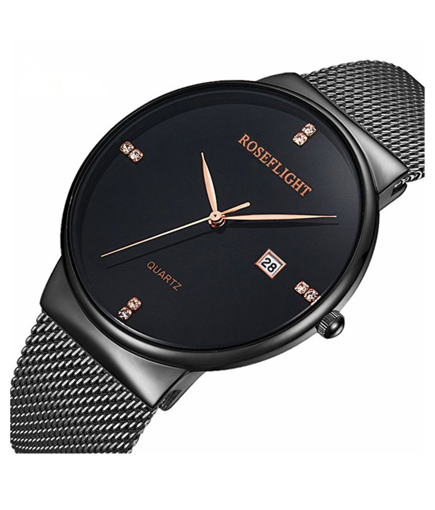 bccfe84f8 ... Steel Quartz Watches For Men And Women Price in India  Buy Roseflight  Black Stainless Steel Quartz Watches For Men And Women Online at Snapdeal