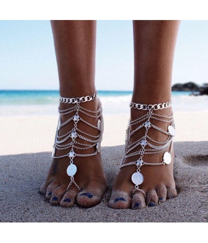 1PCS Women Fashion  Jewelry Trade Retro Punk Metal Heavy Coin Multi Tassel Chain Anklet