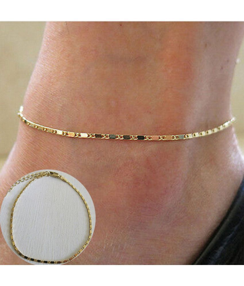2016-Women Simple Gold Chain Anklet Ankle Bracelet Barefoot Sandal Beach Foot Jewelry-N6