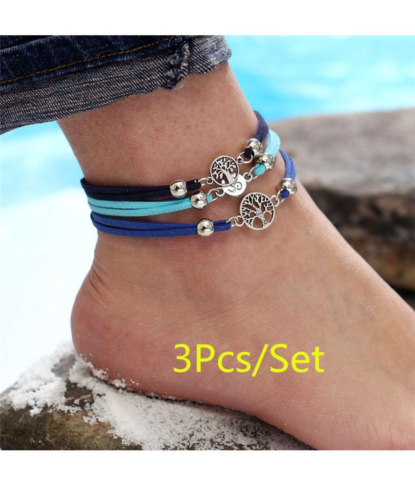 3PCS/Set Vintage Multiple Layers Anklets Boho Life Tree Bracelets Summer Beach Ankle Bracelets Fashion Bracelets Yoga Ankle Chain Summer Foot Jewelry Gift