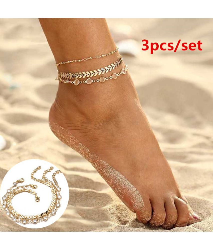 3PcS/Set Personality Multi-layer Crystal Beaded Chain Anklet Ankle Bracelet Summer Beach Foot Chain