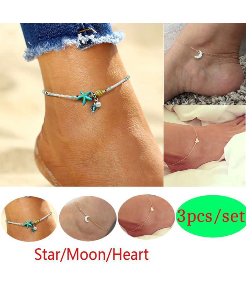 3Pcs/set Boho Pearls Starfish Heart Moon Pendant Anklets Summer Beach Statement Crystal Shells Foot Chain Women Vintage Jewelry Gifts