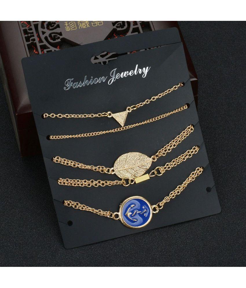 5pcs/set Fine Chain Triangle Leaf Enamel Anchor Charm Anklet Bracelet Summer Beach Jewelry Set