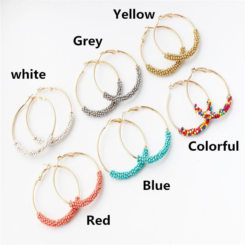Bohemian Ethnic Style Ladies Fashion Fringe Multicolor Beads Exaggerated Circle Earrings Ladies Jewelry