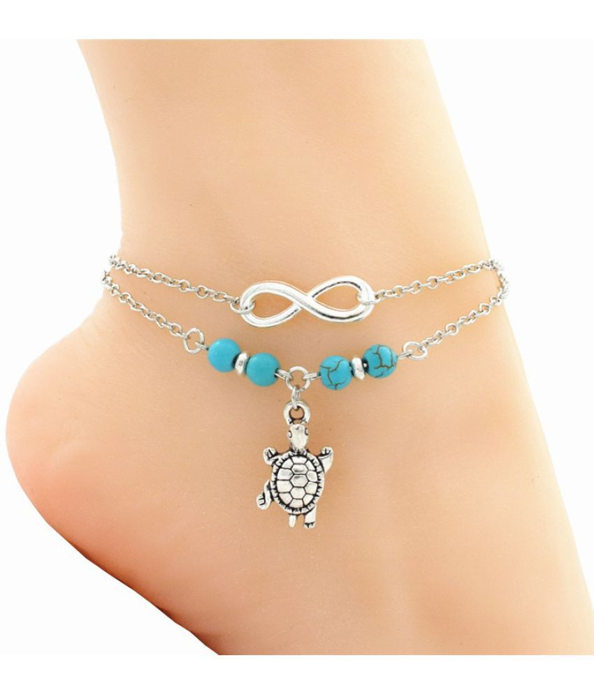 Boho Vintage Antique Silver Sea Animal Turtle Charm Pendant Anklets Chain Ankle Bracelet Barefoot Sandal Beach Foot Jewelry