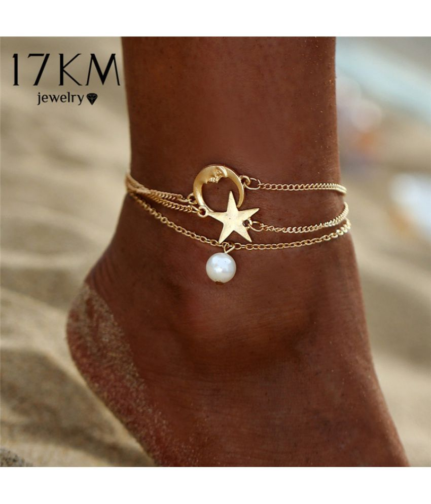Fashion New 3PCS/Set Star Moon Pearl Chain Anklet Bracelet Charm Women Casual Unique Simple Alloy Goldplated Foot Anklets Bracelets Sets Jewelry Wholesale