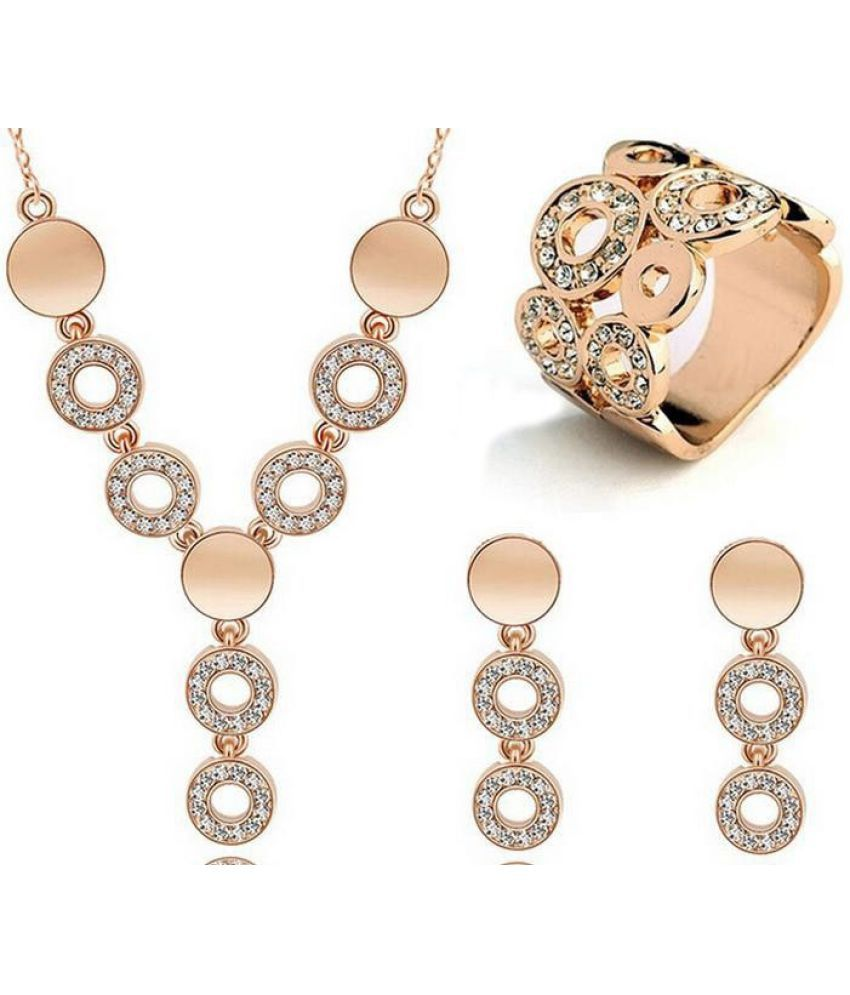 Gold/Silver plated high quality jewelry set for women necklace/earring/ring