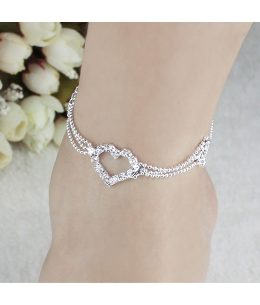 New Charm Silver Plated Bead Anklet Ankle Bracelet Chain Crystal Fashion Singular Jewelry Gifts WTU