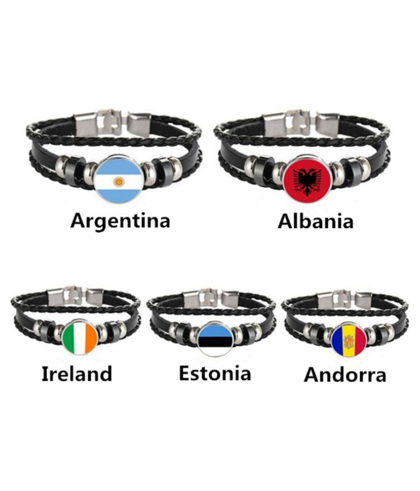 Personality Fashion Multilayer Leather Bracelet 2018 World Cup National Flags Bracelet Bangle Soccer Fans Souvenir Wristband