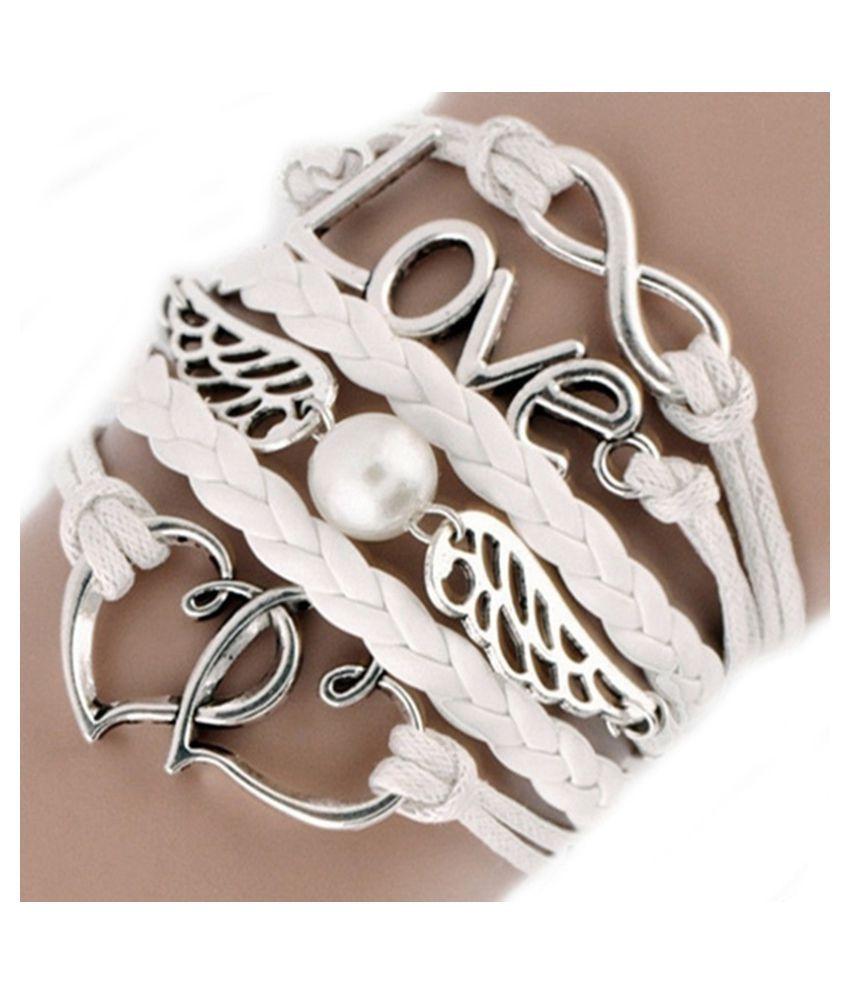 Stvewrtle Fashion Leather Multilayer Cute Infinity Love Heart Wings Charms Bracelet Women