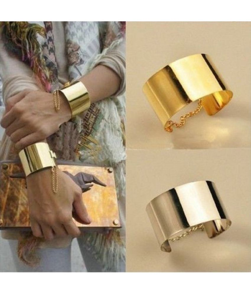 Women Fashion Wide Mirror Metallic Silver&Gold Chains Bangle Punk Bracelets Hot