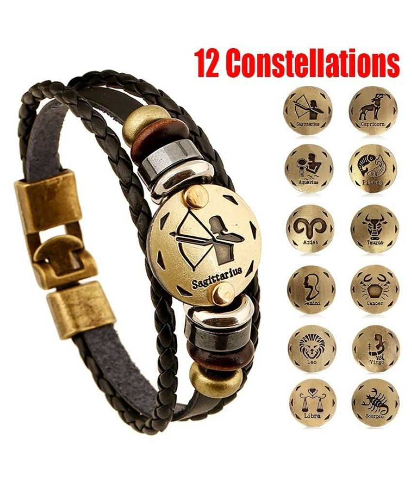 Lover-Beauty New Style 12 Constellations Multi-layer Leather Cuff Chain Lucky Charm Bracelet
