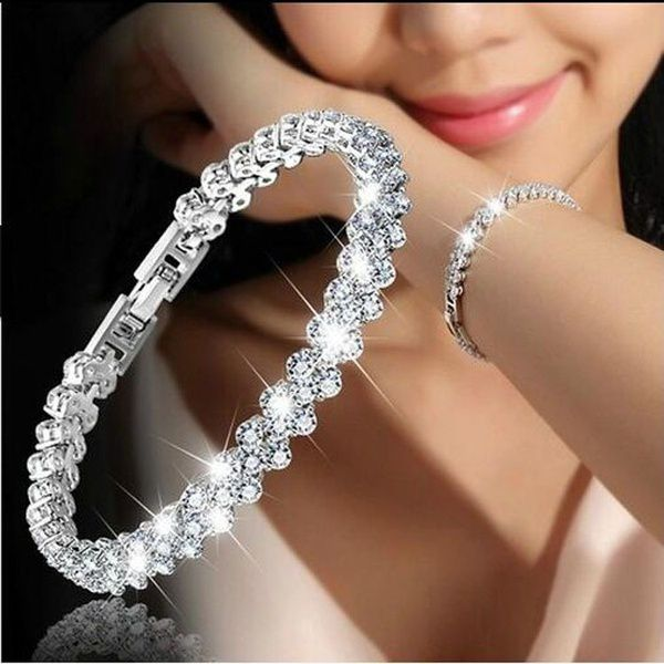 Women Fashion Roman Style Woman 925 Sterling Silver Crystal Diamond Bracelets Gifts
