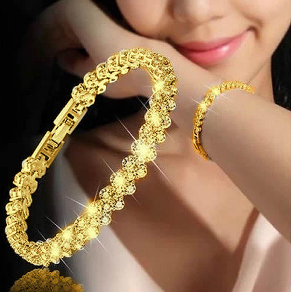 Women Fashion Roman Style Woman 925 Sterling Silver  Diamond Bracelets