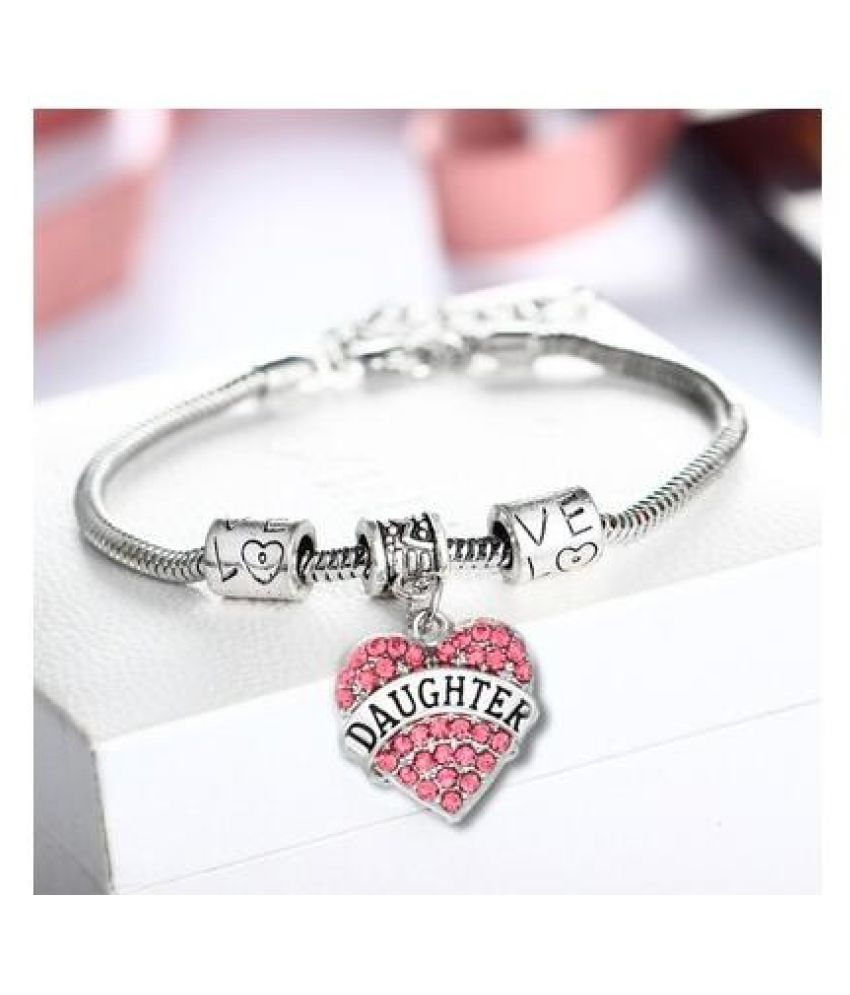 Women Jewelry Gift Crystal Daughter Silver Rhinestone Bracelet Heart Love Chain Necklace
