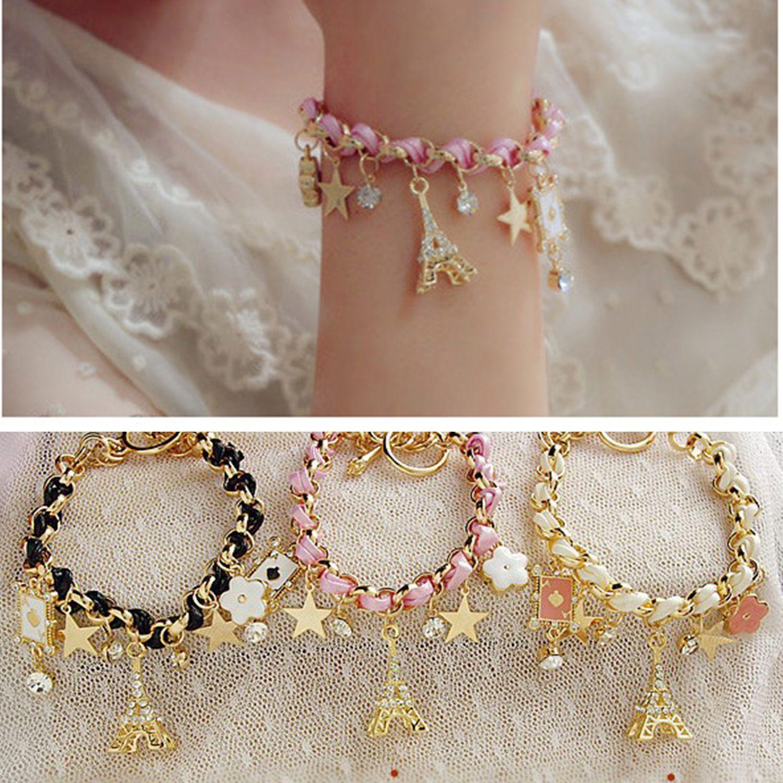 lovely Retro Girl Womens Multielement Gold Chain Leather Rope Crystal Handmade Bracelet