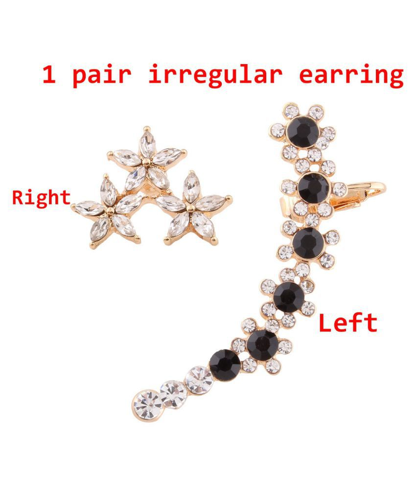 1 Pair Personality Asymmetrical Diamond Flower Stud Earrings Womens Earrings Fashion Party Jewelry