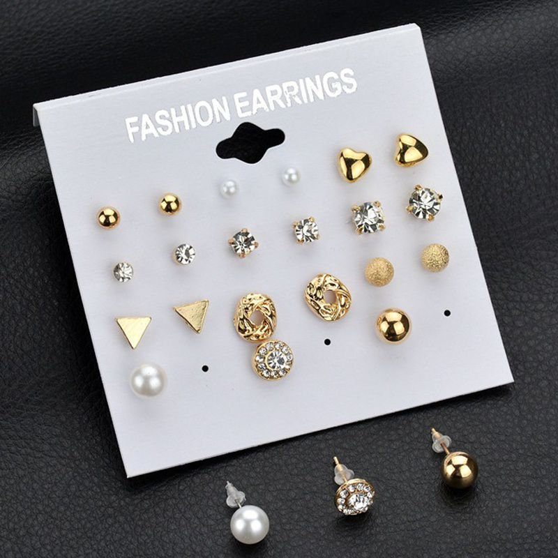 12 Pairs/set Elegant Charm Zircon Crystal Imitation Pearl Stud Earrings Set Triangle Heart Shaped Exquisite Piercing Earrings Set Jewelry for Women Girl Party Gifts