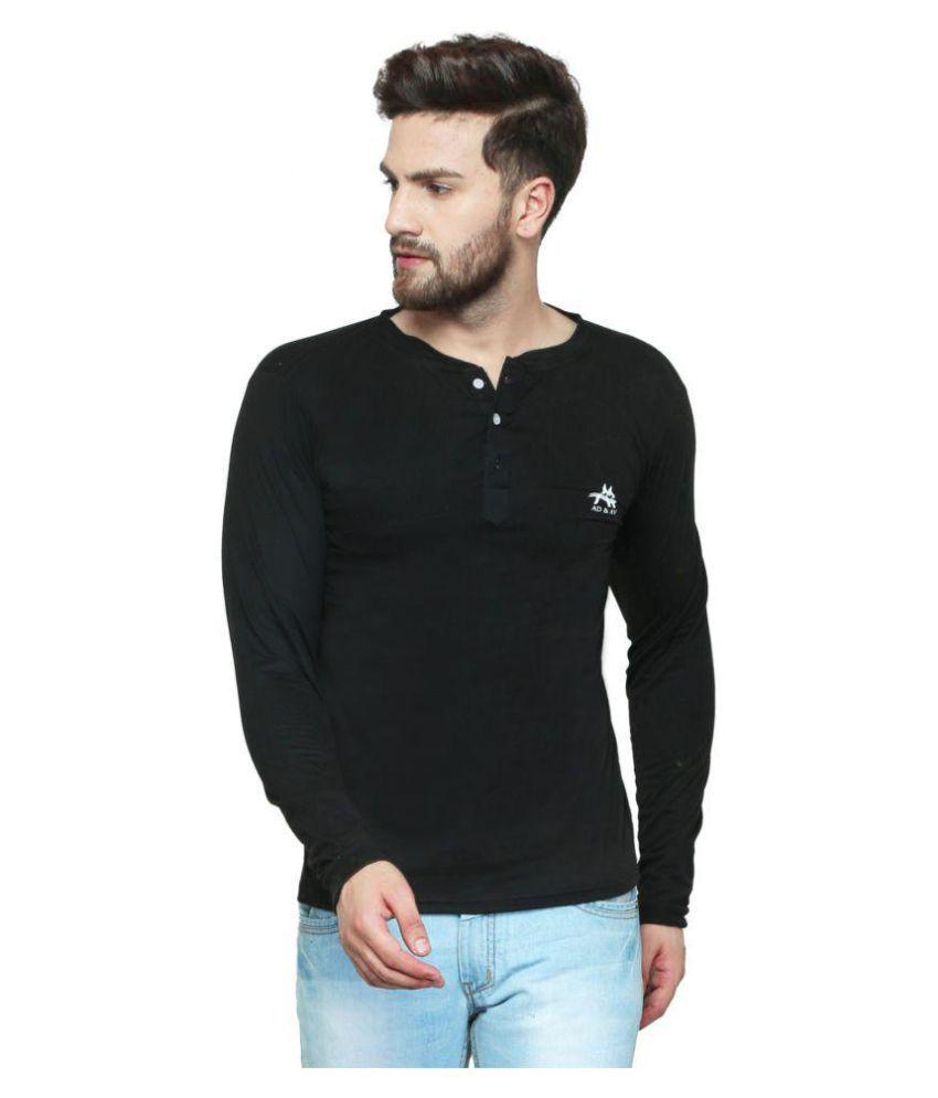 AD & AV Black Round T-Shirt Pack of 1