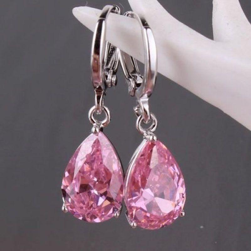 Women 925 Sterling Silver Pink Cublic Zircon Crystal Stud Hoop Earrings