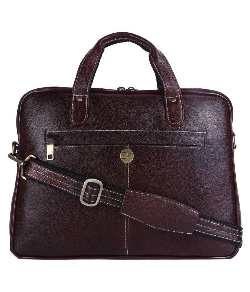 SK TRADER SK-A80.BR Brown Leather Office Bag