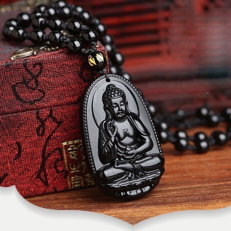 1PC Unique Nature Black Obsidian Carved Buddha Amulet Pendent Necklace Jewelry Pendant Necklaces Charm Necklace Religious Items for Men Women