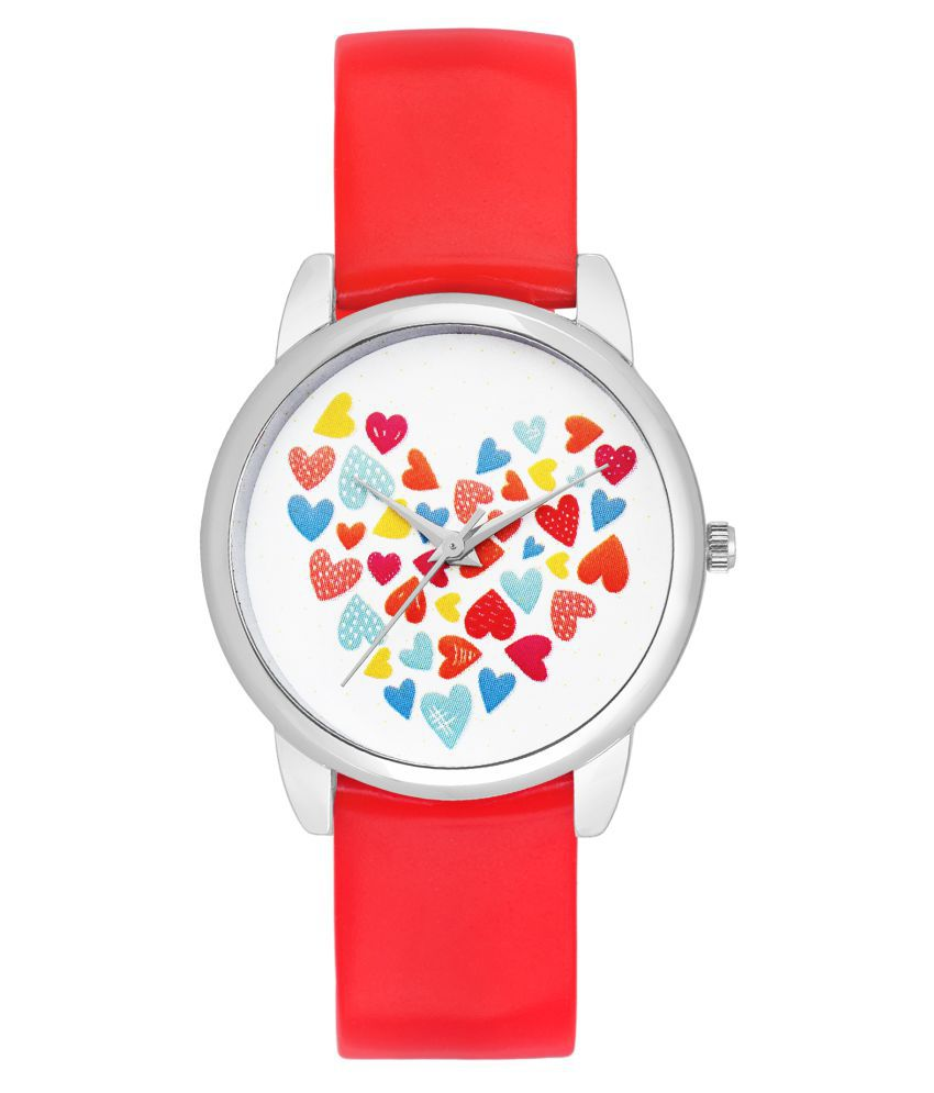 Charlie carson heart with red strap watch for women- CC101G