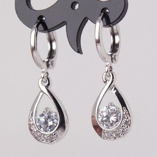 Luxury Fashion Women 925 sterling silver Round White Crystal Dangle Drop CZ Earrings Jewelry