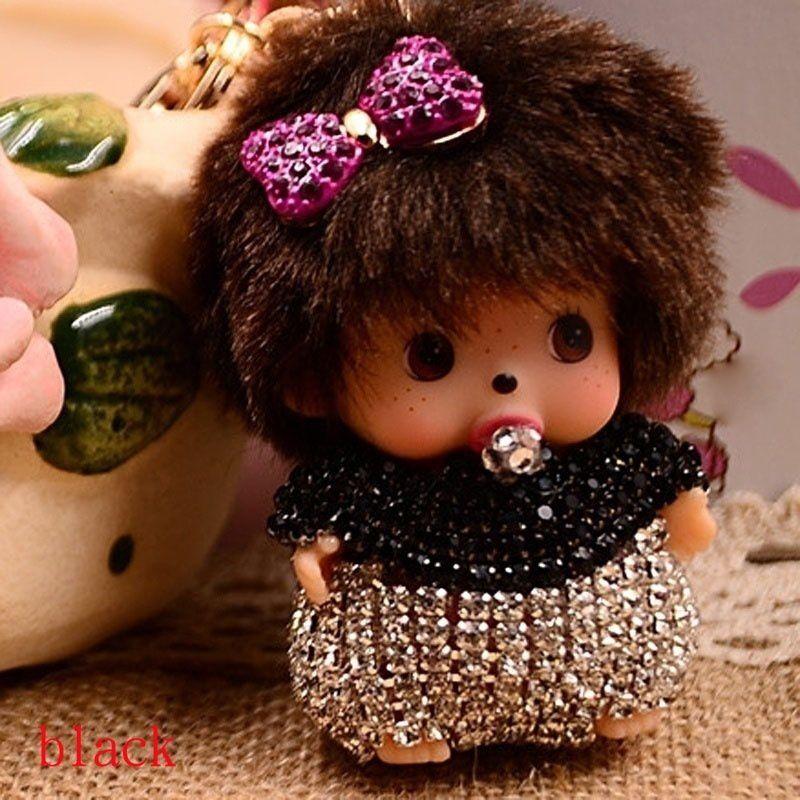 Rhinestone Monchhichi Bag Keyfob Plush Toy Key Chain Metal Pendant Keyring HER