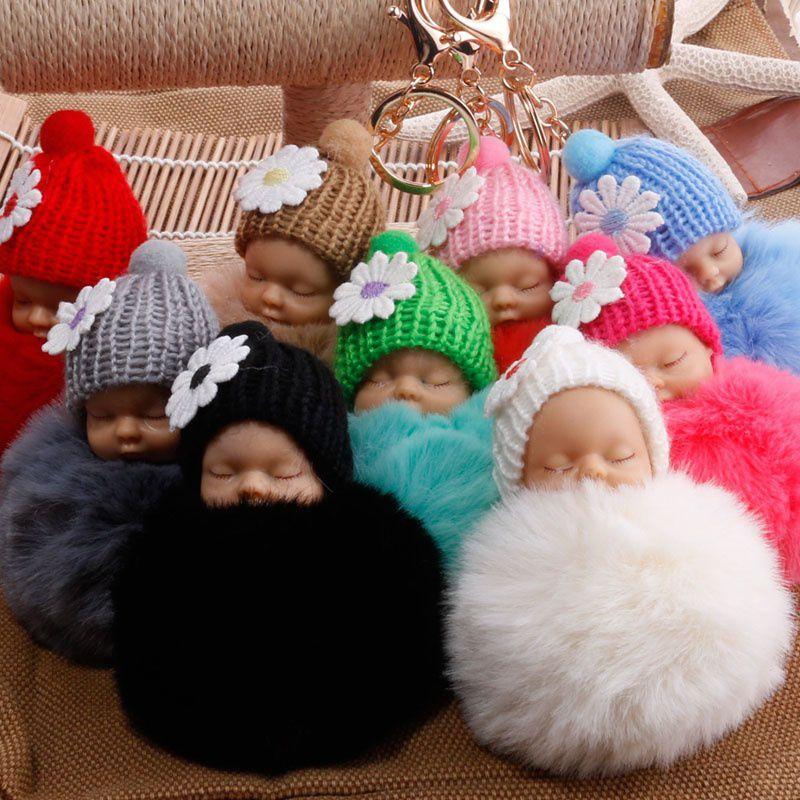 Small Flower Baby Doll Fake Fur Fluffy Ball Key Chain Bag Key Rings Car Key Pendant Cartoon Ornaments Gifts