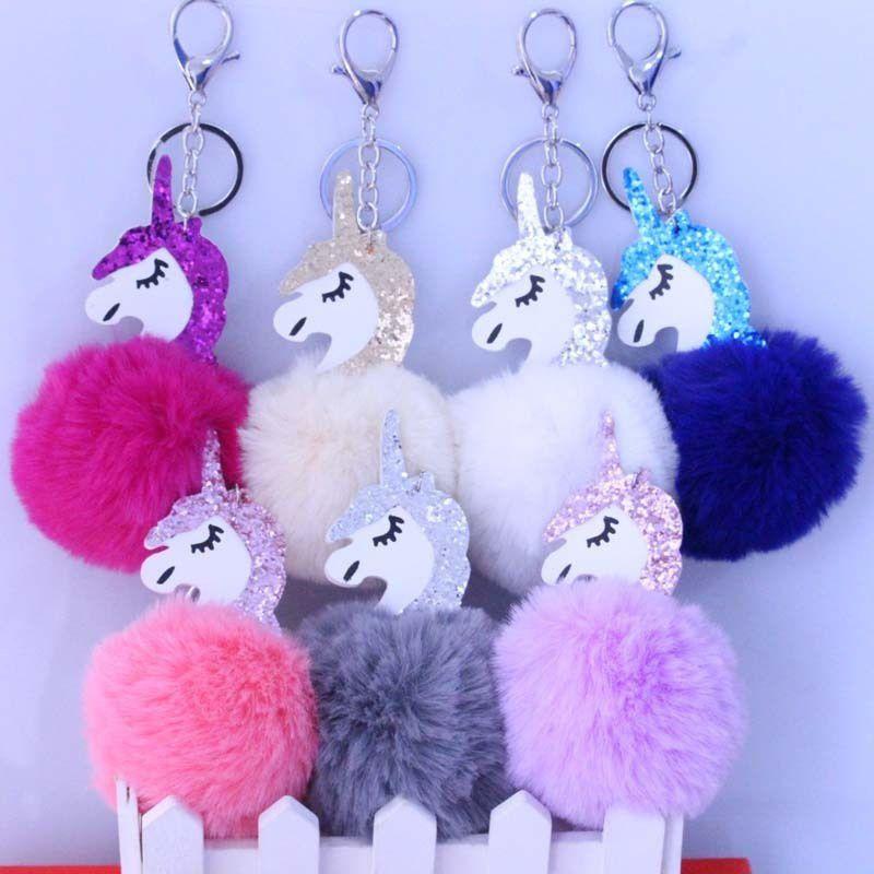 Unicorn Pompom Keychain Rabbit Fur Ball Fluffy Licorne Key Chain Horse Porte Clef Pompom De Fourrure Pompon Bag Car Keyring