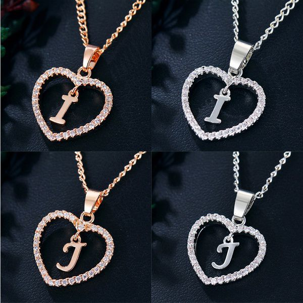 26 Alphabet Crystal Chain Heart Necklace Fashion Silver Gold Ladies Alloy Love Chain Pendant Simple Lovers Letter Friendship Jewelry Accessories Gift