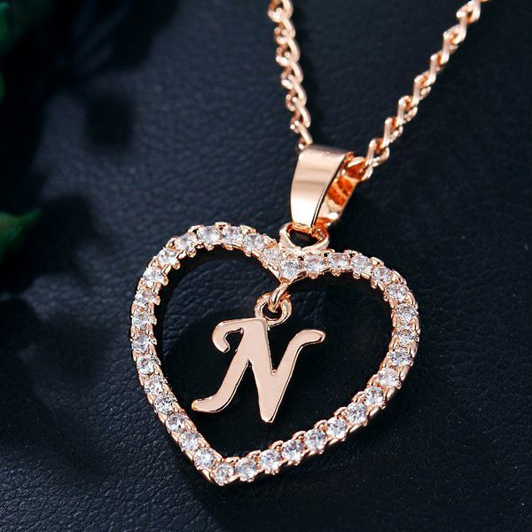 26 Letters Silver Gold Plated Heart Chain Necklace Alphabet Initial Necklace Letter A To Z Pendant  Women Valentine's Day Jewelry Gifts