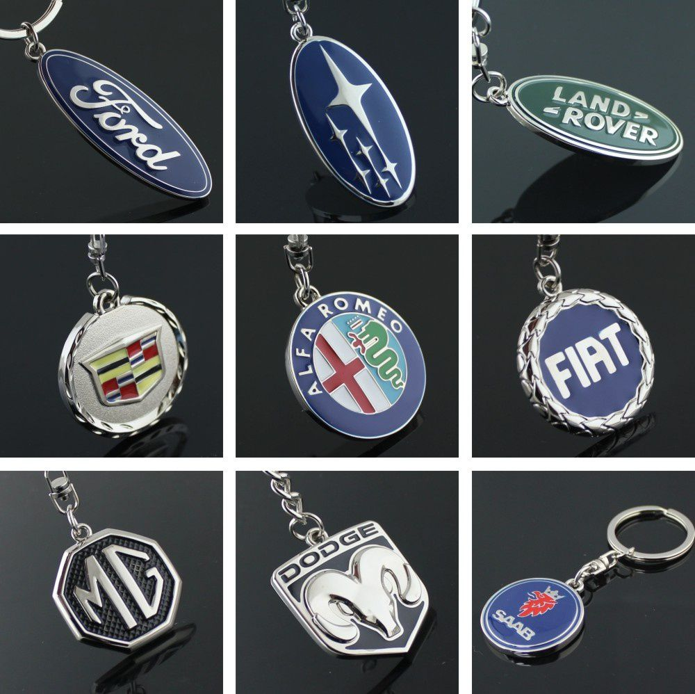 3D Metal Logo Car Key Chain Ring Marked Model Keychain for Ford Subaru Land Rover Cadillac Fiat
