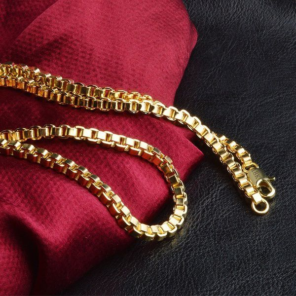 4MM 20inch Mens 18K Gold Box Chain Necklace Italy Chains Wedding Party Hip Hop Jewelry Gifts (Color: Gold)