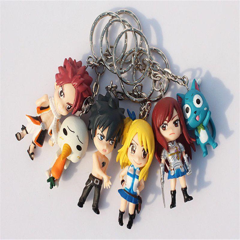 6Pcs Set Hot PVC Keychain Anime Fairy Tail Gift Of PVC Soft Rubber Key Chain Bag Trinkets